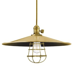 Heirloom Aged Brass One-Light Large Pendant-Flat Shade and Wire Guard-Medium