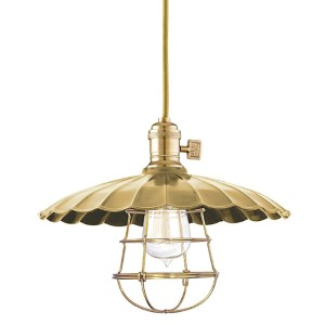 Heirloom Aged Brass One-Light Medium Pendant-Scalloped Shade and Wire Guard-Medium