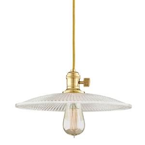 Heirloom Aged Brass One-Light Pendant with Medium Straight Glass