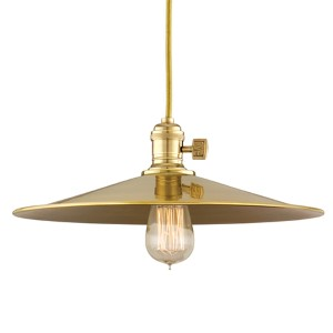 Heirloom Aged Brass One-Light 11-Foot Cord Pendant with Medium Straight Metal