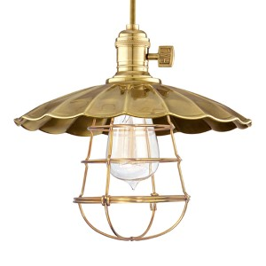 Heirloom Aged Brass One-Light 11-Foot Cord Pendant with Small Scalloped Metal and Wire Guard