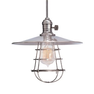Heirloom Polished Nickel One-Light 11-Foot Cord Pendant with Small Straight Metal and Wire Guard