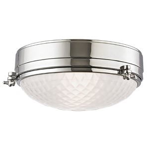 Belmont Polished Nickel Two-Light 13-Inch Wide Flush Mount with Frosted Glass