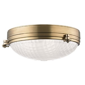 Belmont Aged Brass Three-Light Flush Mount with Frosted Glass