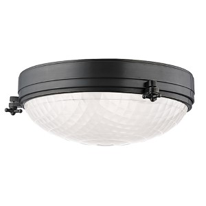 Belmont Old Bronze Three-Light Flush Mount with Frosted Glass