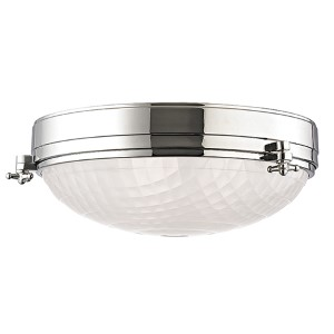 Belmont Polished Nickel Three-Light Flush Mount with Frosted Glass