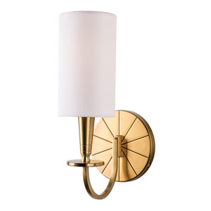 Mason Aged Brass One-Light Wall Sconce with White Shade
