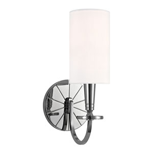 Mason Polished Nickel One-Light Wall Sconce with White Shade