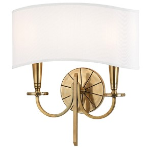 Mason Aged Brass Two-Light Wall Sconce with White Shade