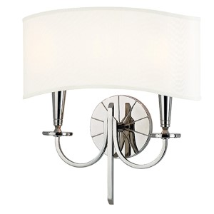 Mason Polished Nickel Two-Light Wall Sconce with White Shade