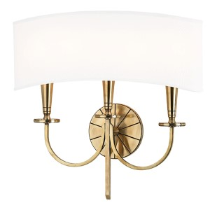 Mason Aged Brass Three-Light Wall Sconce with White Shade