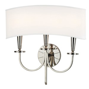 Mason Polished Nickel Three-Light Wall Sconce with White Shade