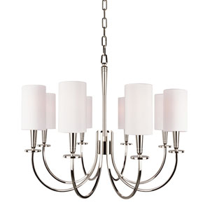 Mason Polished Nickel Eight-Light Chandelier with White Shade