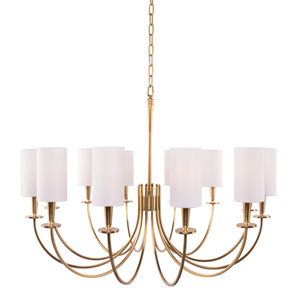 Mason Aged Brass 12-Light Chandelier with White Shade
