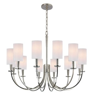 Mason Polished Nickel 12-Light Chandelier with White Shade