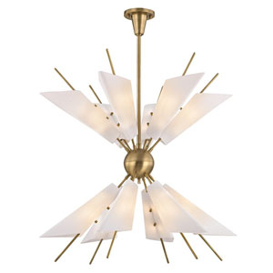 Cooper Aged Brass LED 32-Inch 24-Light Chandelier