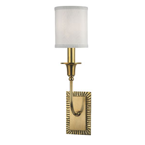 Dover Aged Brass One-Light Wall Sconce with White Faux Silk Shade