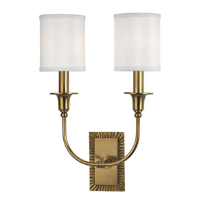Dover Aged Brass Two-Light Wall Sconce with White Faux Silk Shade