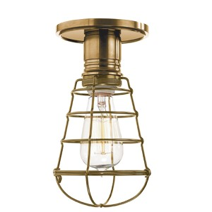 Heirloom Aged Brass Semi Flush with Wire Guard
