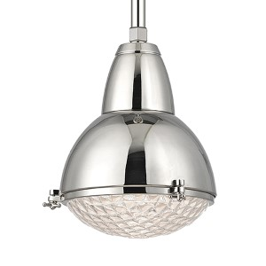 Belmont Polished Nickel One-Light 17-Inch High Pendant with Clear Glass