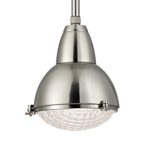 Belmont Satin Nickel One-Light 17-Inch High Pendant with Clear Glass
