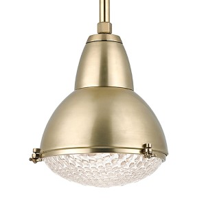 Belmont Aged Brass One-Light 22-Inch High Pendant with Clear Glass