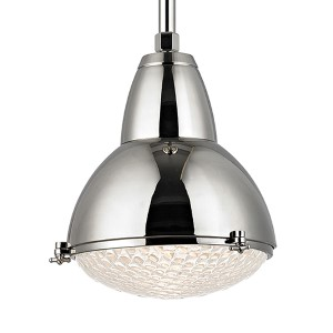 Belmont Polished Nickel One-Light 22-Inch High Pendant with Clear Glass
