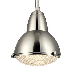 Belmont Satin Nickel One-Light 22-Inch High Pendant with Clear Glass