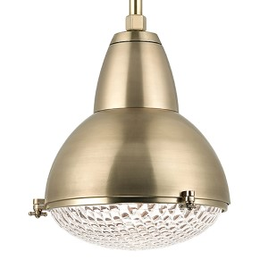 Belmont Aged Brass One-Light 27-Inch High Pendant with Clear Glass