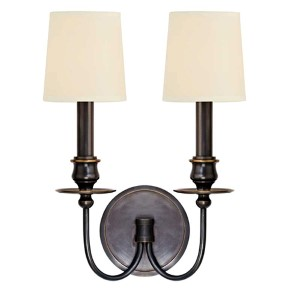 Cohasset Old Bronze Two-Light Wall Sconce with Cream Shade