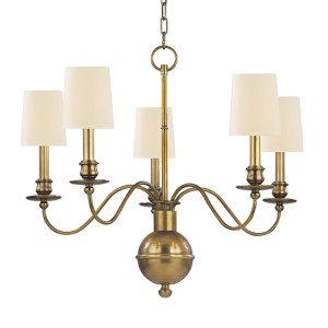 Cohasset Aged Brass Five-Light Chandelier with Cream Shade