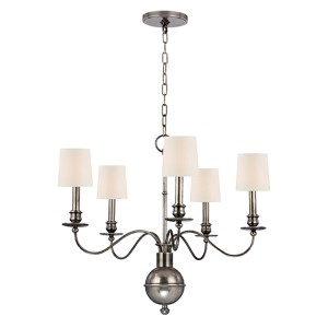 Cohasset Aged Silver Five-Light Chandelier