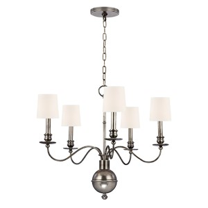 Cohasset Aged Silver Five-Light Chandelier with White Shade