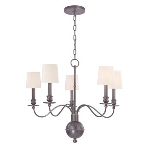 Cohasset Old Bronze Five-Light Chandelier with Cream Shade