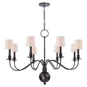 Cohasset Old Bronze Eight-Light Chandelier with Cream Shade
