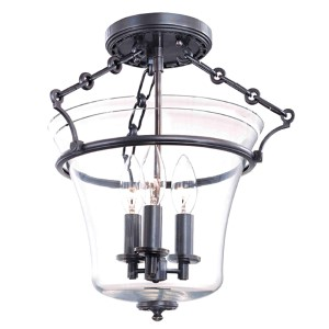 Eaton Old Bronze Three-Light Semi Flush