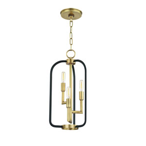 Angler Aged Brass and Black Three-Light Chandelier