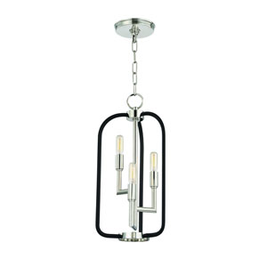 Angler Polished Nickel and Black Three-Light Chandelier