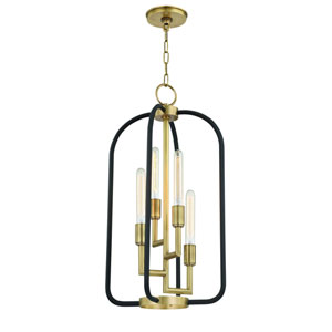 Angler Aged Brass and Black Four-Light Chandelier