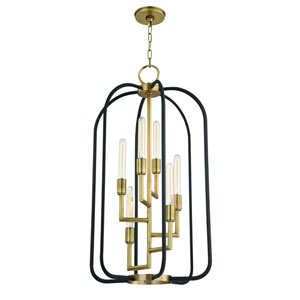 Angler Aged Brass and Black Six-Light Chandelier