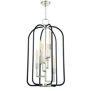 Angler Polished Nickel and Black Six-Light Chandelier