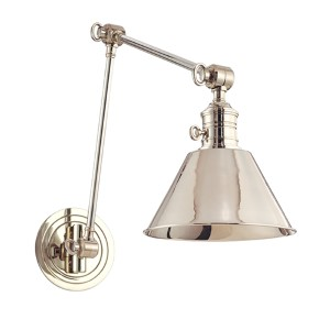 Garden City Polished Nickel One-Light Adjustable-Arm Sconce