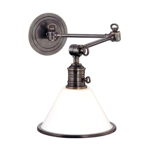 Garden City Old Bronze One-Light Swing-Arm Sconce with Glass Shade