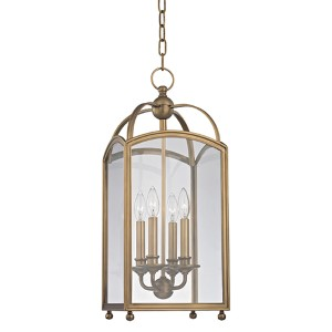 Millbrook Aged Brass 25-Inch Four-Light Pendant with Clear Glass