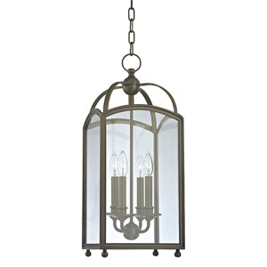 Millbrook Distressed Bronze 25-Inch Four-Light Pendant with Clear Glass