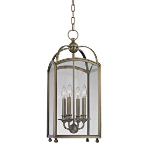 Millbrook Historic Nickel 25-Inch Four-Light Pendant with Clear Glass