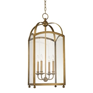 Millbrook Aged Brass Four-Light Pendant with Clear Glass