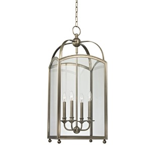 Millbrook Historic Nickel Four-Light Pendant with Clear Glass