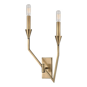 Archie Aged Brass Two-Light Left Wall Sconce