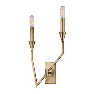 Archie Aged Brass Two-Light Right Wall Sconce
